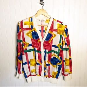 Vintage Lightweight Cardigan Jacket 80s Watercolor